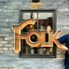 "211 Likes, 1 Comments - Folk (@folk_space_design) on Instagram: ""曲げ木を使った室内看板  お店をされる方にもおすすめです!  #Folk  #folk_space_design  #interior #インテリア #design #デザイン #看板  #ロゴ…"""
