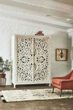 Anthropologie Lombok Armoire 2998 vs World Market White Carved Wood Floral Armoire 1400 white carved armoire look for less copycatchic luxe living for less budget home decor and design daily finds home trends and room redos Home Furniture, Furniture Design, Furniture Stores, Furniture Ideas, Furniture Repair, Furniture Removal, Furniture Movers, Funky Furniture, Furniture Online