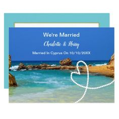 #Post Wedding Reception Party Married In Cyprus Card - #beach #wedding #invitation #cards #ocean #party #idea #romantic