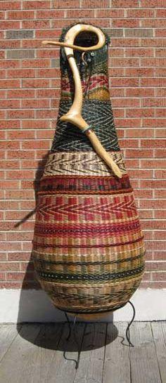 "Marilyn Evans and William Stevens, ""Red Raven"" woven basket Rope Basket, Basket Weaving, Woven Baskets, Paper Weaving, Weaving Art, Red Raven, Seed Bead Art, Bountiful Baskets, Indoor Crafts"