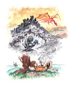 ~Watercolor & Ink~2012~ A tribute to The Hobbit. This was painted before seeing the movie and after reading the book well over a decade ago. So, I guess this is what I took away from it all. Wa...
