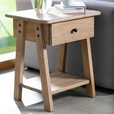 Chelwood Nordic Reclaimed Wood Side Table The perfect small rustic side table featuring a single drawer and shelf, all made from reclaimed wood. Reclaimed wood lamp table with free UK delivery. Reclaimed Wood Side Table, Rustic Side Table, Reclaimed Timber, Modern Side Table, Reclaimed Wood Furniture, Narrow Side Table, Sofa Side Table, End Tables With Drawers, Simple Aesthetic