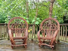 2 Handcrafted Twig Willow Fan Chairs Rustic by TwigWillowFurniture Willow Furniture, Cabin Furniture, Outdoor Furniture, Traditional Chairs, Rustic Chair, Cabin Interiors, Yard Art, Bird Houses, Garden Inspiration
