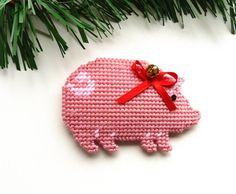 Christmas Ornament Plastic Canvas Pig Ornament Hog by HometownUSA