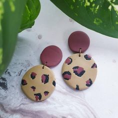 Your place to buy and sell all things handmade Diy Clay Earrings, Polymer Clay Jewelry, Resin Jewelry, Jewelry Crafts, Dangle Earrings, Statement Earrings, Animal Print Earrings, Biscuit, Brown Earrings