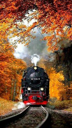 Locomotive in Autumn Photo Background Images Hd, Blur Background Photography, Studio Background Images, Nature Photography, Image Nature, Train Art, Old Trains, Train Pictures, Picsart Background