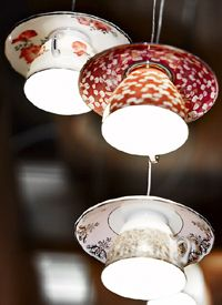 Tea lights ... Electric Mavis teacup lamps by Gregory Bonasera, from Tongue and Groove.