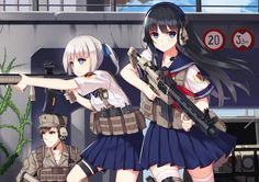 Anime picture with original allenes highres looking at viewer blue eyes black hair multiple girls white hair looking away absurdres thighhighs male skirt uniform weapon white thighhighs seifuku headphones gun Anime Military, Military Girl, Guerra Anime, Anime Warrior Girl, Anime Weapons, Cool Anime Girl, Anime Girls, Girls Frontline, Anime Style