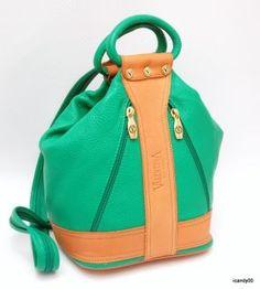 Valentina Italian Leather Bucket Handbag -- in green! :-)
