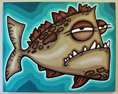 uGLY FiSH -16x20 original acrylic painting on canvas, FREE SHIPPING, art for boys. $75.00, via Etsy.