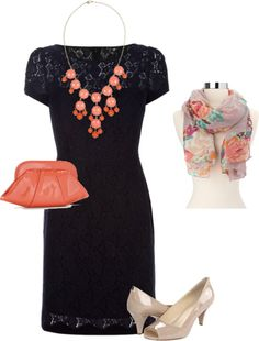 wedding outfit -navy and coral