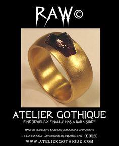Raw© Fine Custom Jewelry Gothic Alternative Engagement Bridal Wedding Fashion Band Ring Gold