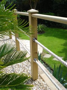 Image result for wood and rope external handrails