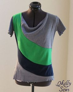 Draped Color Block Tee -     The advantages that this Draped Color Block Tee offer are worth the work to make it. By sewing shirts that involve large chunks of various colors and a looser fit, you'll drive attention away from your tummy area. Beyond this eye-catching design, though, this simple shirt pattern is a quick fix for any seamstress. You'll be surprised that you can whip up this wardrobe staple in less than an hour.