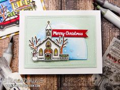 Holiday Scene Cards + Sunny Studio Stamps Christmas Chapel Card by Nina Marie Designs.
