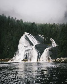 Waterfalls in Thompson Sound on BC's central coast. Photo: @moners_