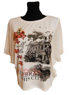 KOSZULKA - MOTYL KOLOR - biały z modnym nadrukiem www.dakatek.pl