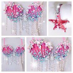 Mermaid Bra, Mermaid Outfit, Mermaid Tails, Mermaid Princess, Mermaid Makeup, Maquillage Ursula, Maquillage Halloween, Diy Fashion, Ideias Fashion