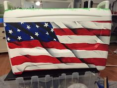 Cooler Connection on Facebook  waving American flag cooler side