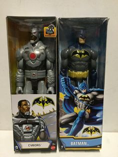 "DC Comics Armored Batman Cyborg 12"" Posable Action Figures 2pack New 