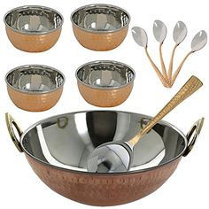 Indian Gifts Serving Bowl And Karahi Indian Dishes Serveware Set Copper Steel ShalinIndia http://www.amazon.com/dp/B00ORIKCPO/ref=cm_sw_r_pi_dp_v.3Rvb10GMD0T