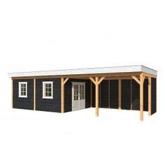 Overkapping Tynaarlo 980x400 Tuindeco:  - Afmeting overkapping (bxd): 980x400 cm- Nokhoogte: 260 cm- Afmeting staanders: 14.5x14.5cm- Aantal staanders: 11- Wanden:enkelzijdig Zweedse rabat wanden, blank- Afmeting berging:500x400 cm (incl. vurenhouten dubbele deur en 2x enkel raam)- Dakbedekking: EDPM dakfolie De overkapping wordt geleverd incl.: Opbouwbeschrijving, schoren, staanders, wanden, dakfolie en bevestigingsmaterialen.