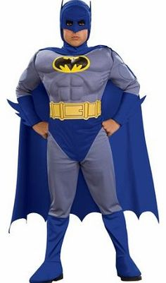Rubies Masquerade UK Rubies Batman Brave Chest Child (Large) Official Batman™ costume for boys, in grey and blue. The outfit is composed of a full jumpsuit with a muscled upper body, a long cape and a mask that only leaves the nose (Barcode EAN = 0883028626779) http://www.comparestoreprices.co.uk//rubies-masquerade-uk-rubies-batman-brave-chest-child-large-.asp