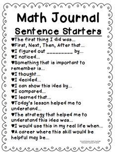 Math journaling sentence starters...Great idea!  A good place to send D when he says how do I write about math;)