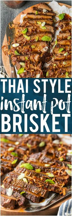 I'm obsessed with this THAI STYLE INSTANT POT BRISKET! The flavor is incredible and the pressure cooker makes things so quick and easy. This is a winning recipe that our family will make again and again. #instantpot #pressurecooker #beef #brisket #mint #easyrecipe via @beckygallhardin