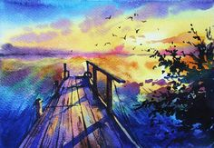 """Watercolor painting """"Sunset"""""""