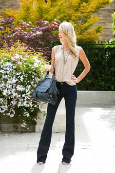 Casual chic - modal tee, flares & killer shoes. Chloe Rose