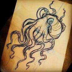 «#sketch #tattoo #tatouage #octopus #pieuvre #projet bras #graphique…
