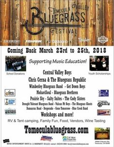 Temecula Valley Bluegrass Festival Tickets and Info School Donations, Down Boy, Temecula Valley, Central Valley, Music Education, United States, Festivals, Music Ed, Music Lessons