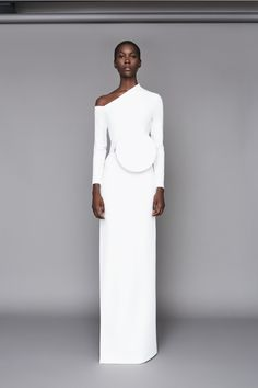 Solace London Liva Dress Cream from Resort Body-con maxi dress with exposed shoulder and exaggerated high neckline detail. Fashion Details, Fashion Design, Runway Fashion, Womens Fashion, White Outfits, Madame, White Fashion, Designer Dresses, Beautiful Dresses