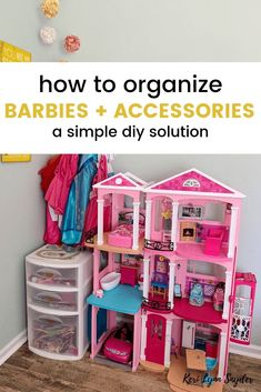 How to Organize Barbies and Accessories - Keri Lynn Snyder How to Organize Barbies and Accessories in the playroom or kids bedroom. DIY solution for how to organize Barbies and accessories. This is the easiest way to keep Barbies organized and contained. Barbie Storage, Barbie Organization, Girls Room Organization, Playroom Organization, Girls Room Storage, Organizing Toys, Lego Storage, Barbie Bedroom, Toy Rooms