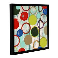 """Latitude Run Rainbow Circles II 2 Floater Framed Painting Print on Wrapped Canvas Size: 36"""" H x 36"""" W x 2"""" D"""