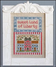 Land of Liberty. Gráfico de Country Cottage Needleworks en www.lacasinaroja.com