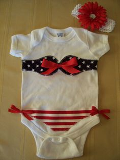 Too funny!! Patriotic 4th of July  Bikini Onesie Flower Hair Clip by lkc1949, $18.00