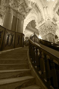 A Moroccan mosque. How magical it would be to climb those stairs and look down from the top.