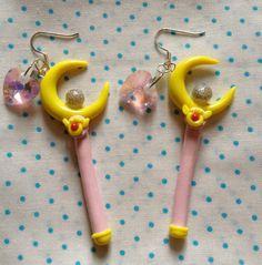 Sailor Moon Inspired Crescent Moon Wand Dangle Earrings