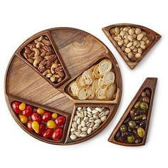Fill this unique, wooden appetizer tray with finger foods for your next party. The serving bowls fit together on the round tray like a tangram puzzle. Wooden Platters, Wood Tray, Small Wood Projects, Diy Wood Projects, Cool Kitchen Gadgets, Kitchen Items, Wooden Kitchen, Assemblages, Tzatziki