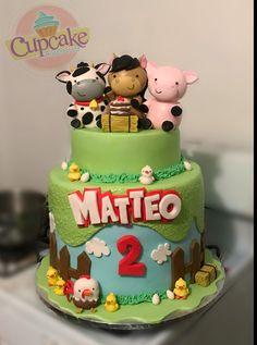 Farm Birthday Cakes, Farm Animal Birthday, 4th Birthday Parties, 2nd Birthday, Farm Animal Cakes, Single Layer Cakes, Farm Cake, Cowgirl Party, Farm Party