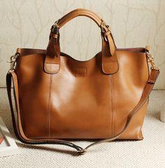 Large Capacity Women's Genuine Leather Messenger Hasp Handbags Tote