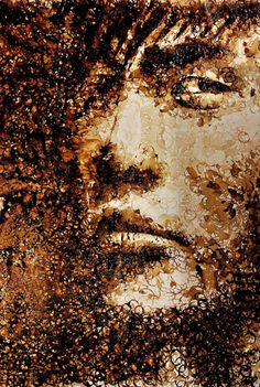 PORTRAIT BY Red Hong    Phenomenal. Hong practices without conventional art tools, embracing the likes of toothbrushes and sticks. Here is an example of her work created using coffee cup stains.