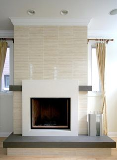 fireplace surround tile modern cement - Google Search | New Place ...