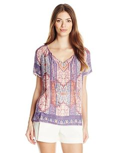 Lucky Brand Women's Tapestry Print Top, Pink/Multi, X-Large- #fashion #Apparel find more at lowpricebooks.co - #fashion