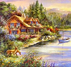 Decorate any of your room with this relaxing fall scenery. The Lakeside Cabin Counted Cross Stitch Kit features a log cabin by the side of a clear blue lake with vibrant flowers in the foreground and Counted Cross Stitch Patterns, Cross Stitch Designs, Cross Stitch Embroidery, Embroidery Patterns, Lakeside Cabin, Cross Stitch Landscape, Autumn Scenery, Cross Stitch Pictures, Arte Floral