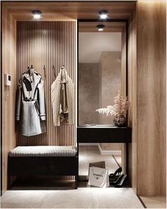 40 diy wood project home decorations from smart closet designs to console ta Foyer Design, Design Hall, Hallway Designs, Home Room Design, Closet Designs, Home Interior Design, Living Room Designs, Interior Decorating, Hotel Bedroom Design