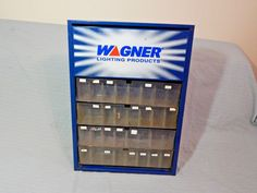 Vintage Wagner Lighting Products Auto Parts Metal Cabinet Gas Station Display #Wagner