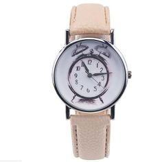 Leather Alarm clock printing Analog Quartz Vogue Wrist Watch Feature: 100% brand new and high quality A classic look, this fashion analog quartz wrist watch is